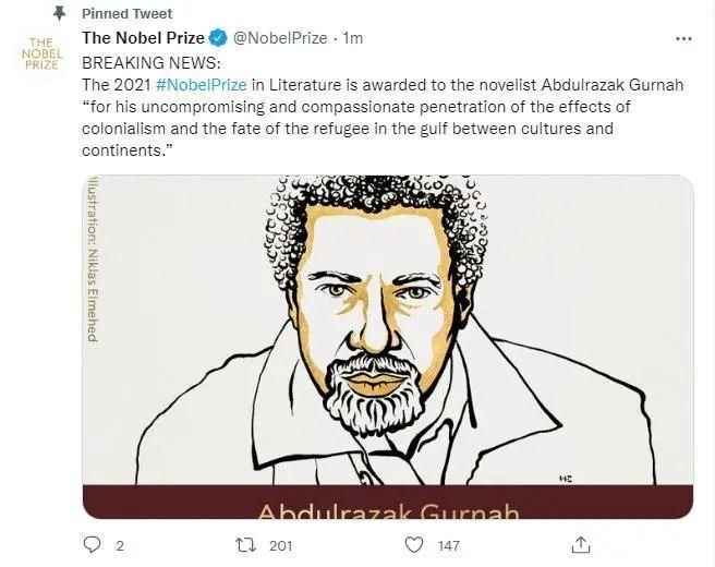 天游平台注册地址诺贝尔文学奖得主,是他!